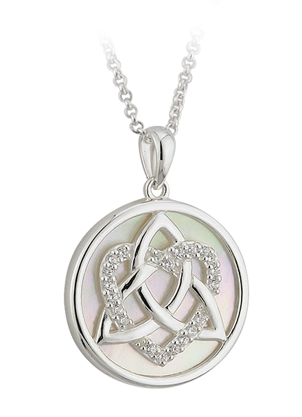 Celtic Pendant - Sterling Silver CZ Love Trinity Knot Circle Pendant with Chain
