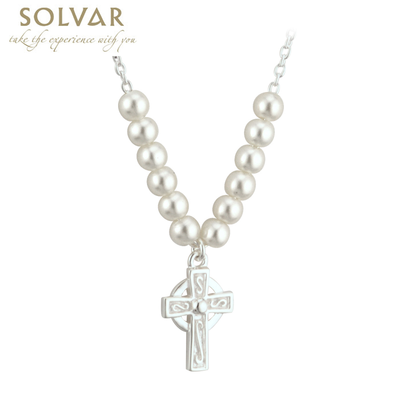 cross first holy necklace with swarovski communion crystal