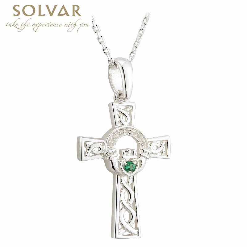 Celtic pendant sterling silver and crystal claddagh celtic cross celtic pendant sterling silver and crystal claddagh celtic cross necklace aloadofball Gallery