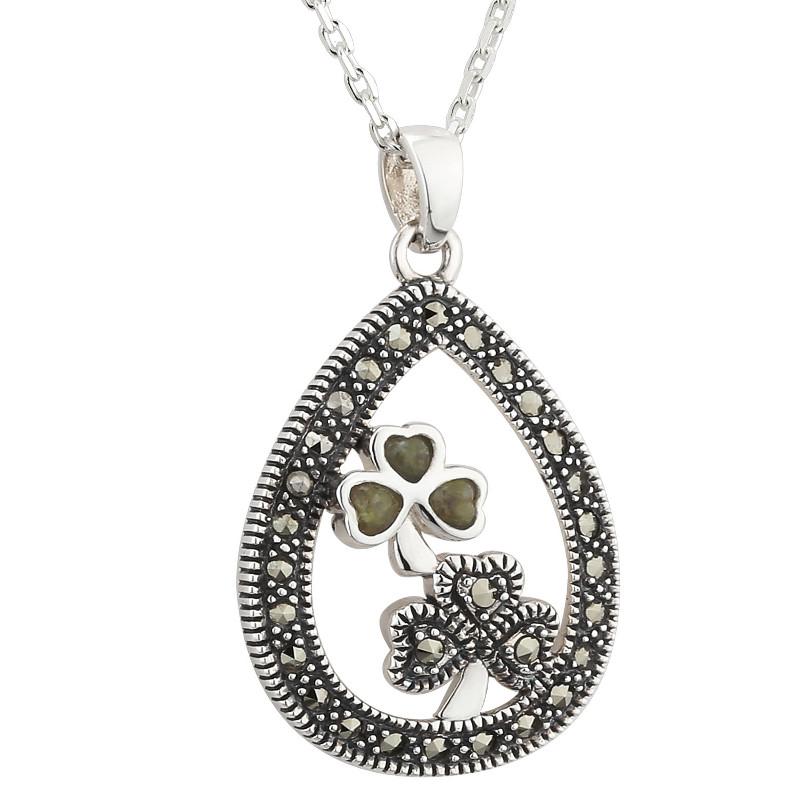 Shamrock Necklace Sterling Silver Marcasite Amp Connemara