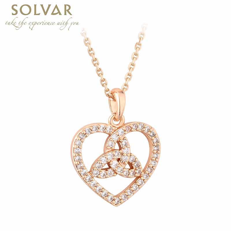 Trinity Knot Pendant Irish Rose Gold Plated Crystal Necklace At Irishshop Com S45986