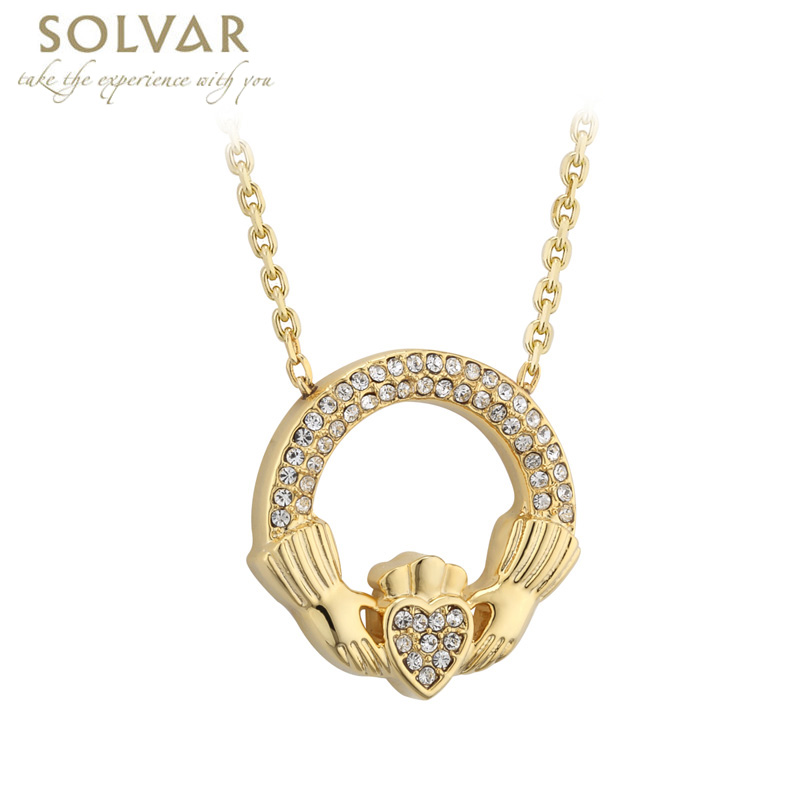 Irish Necklace - Gold Plated Crystal Claddagh Pendant