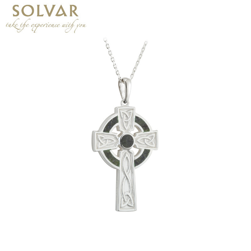 Irish Necklace - Sterling Silver Small Marble Cross Pendant