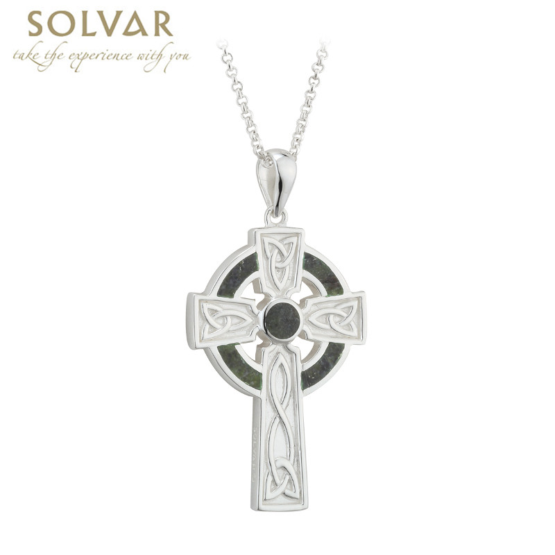 Irish Necklace Sterling Silver Large Marble Cross