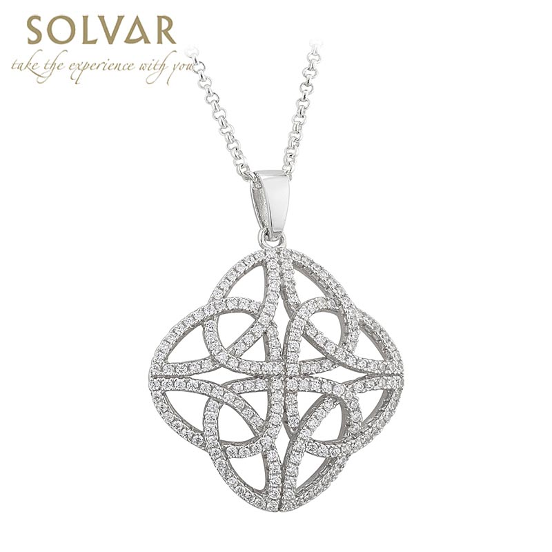 Celtic Pendant - Sterling Silver Crystal Trinity Knot Irish Necklace