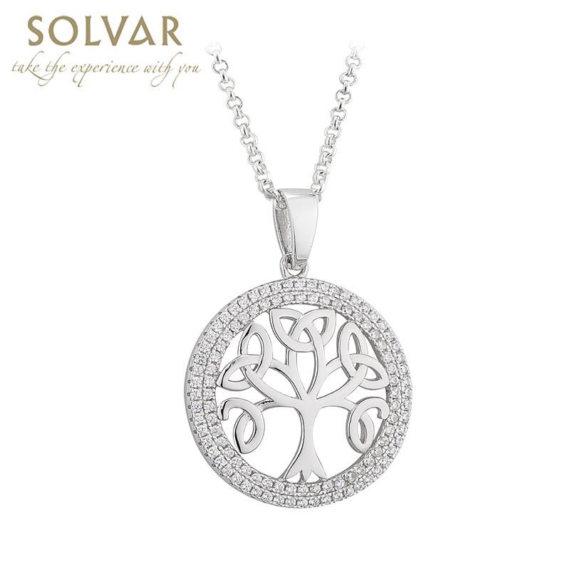 Celtic Pendant - Tree of Life Sterling Silver Crystal Irish Necklace