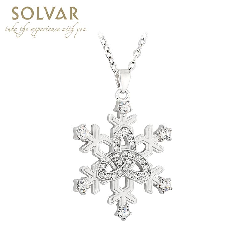 01ff5568c Irish Necklace - Rhodium Plated Snowflake Trinity Knot Pendant at ...