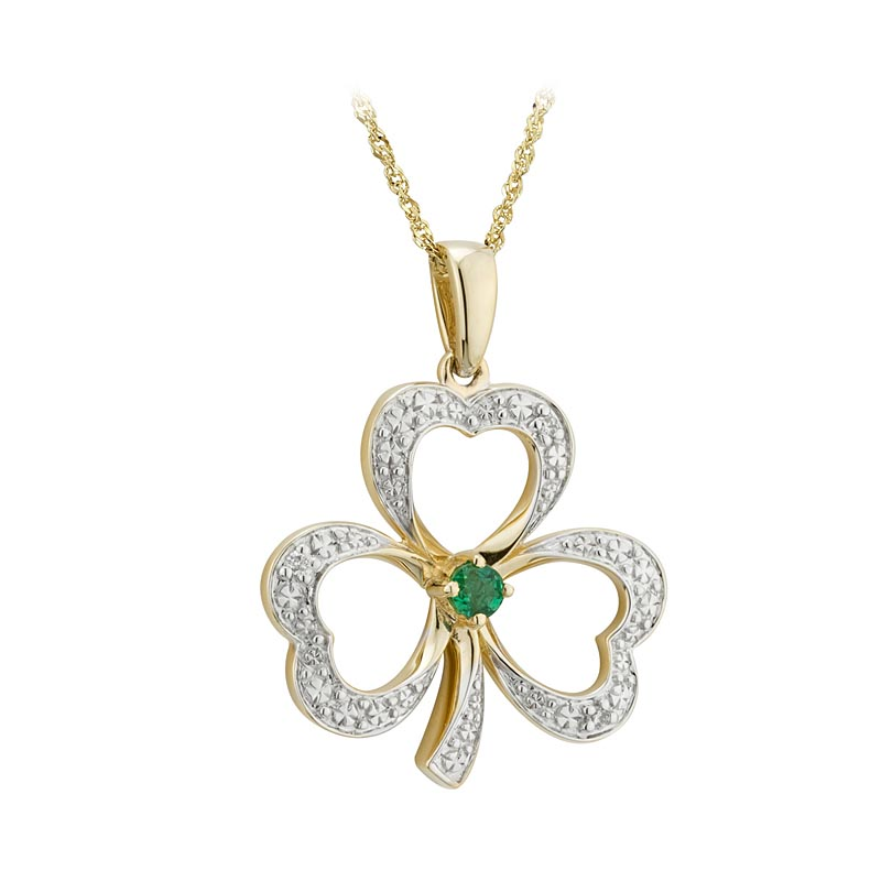Shamrock Necklace - 14k Gold with Diamonds and Emerald Open Shamrock Pendant