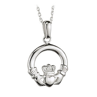 Irish Necklace - Sterling Silver Claddagh Pendant with Chain