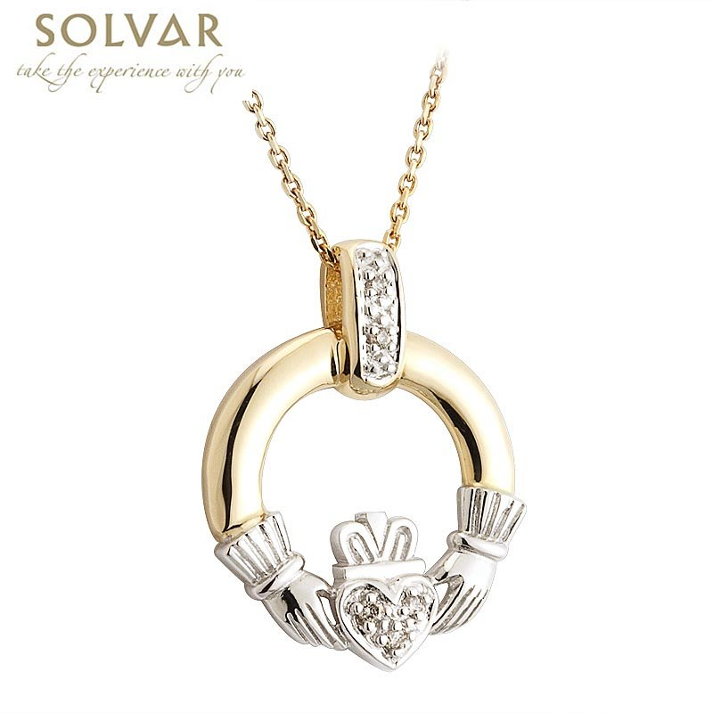 Irish Necklace - 14k Two Tone Gold and Diamond Claddagh Pendant with Chain