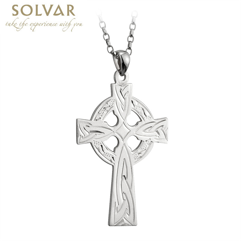 wholesale celtic image pendant zoom cross silver engraved sterling
