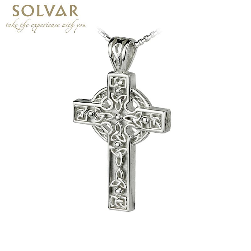 Celtic Pendant - Sterling Silver Celtic Cross Trinity Knot Pendant with Chain