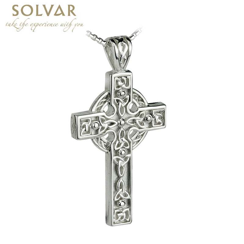 Celtic Pendant - Men's Sterling Silver Celtic Trinity Knot detail Cross with Chain