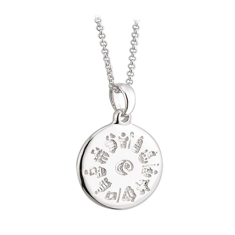 History of Ireland Sterling Silver Disc Irish Pendant
