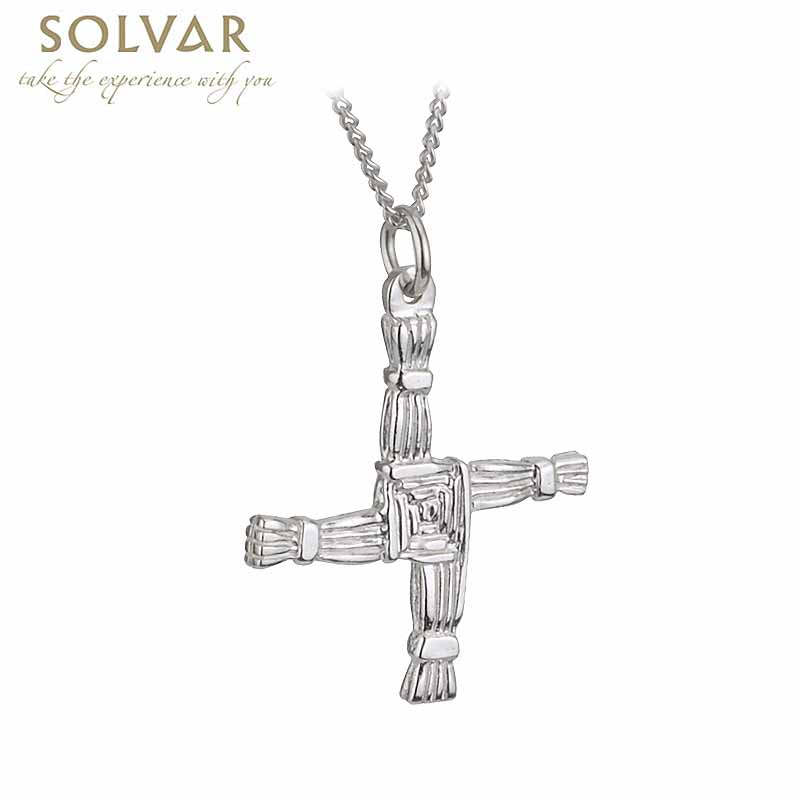 Irish Necklace - Sterling Silver Double Sided St Brigid's Cross Pendant with Chain