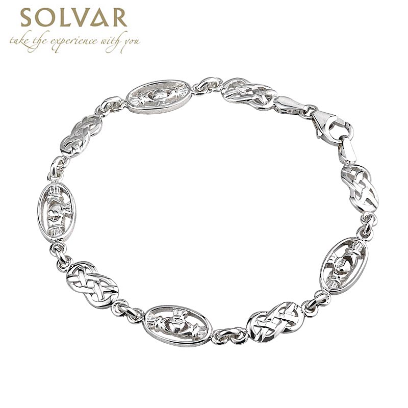 Celtic Bracelet - Sterling Silver Claddagh and Celtic Knot Link Bracelet