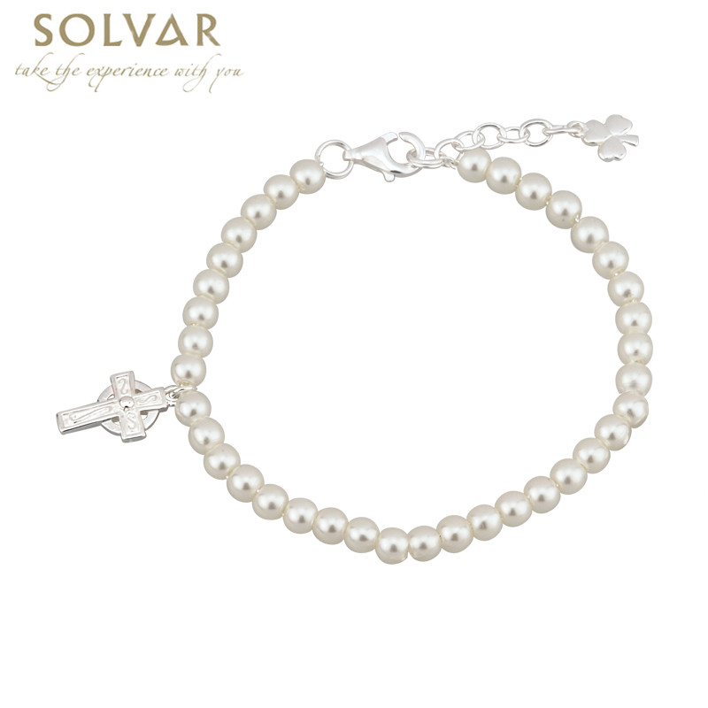 First Communion Pearl Bracelet - Silver Plated with Celtic Cross and Shamrock Charms