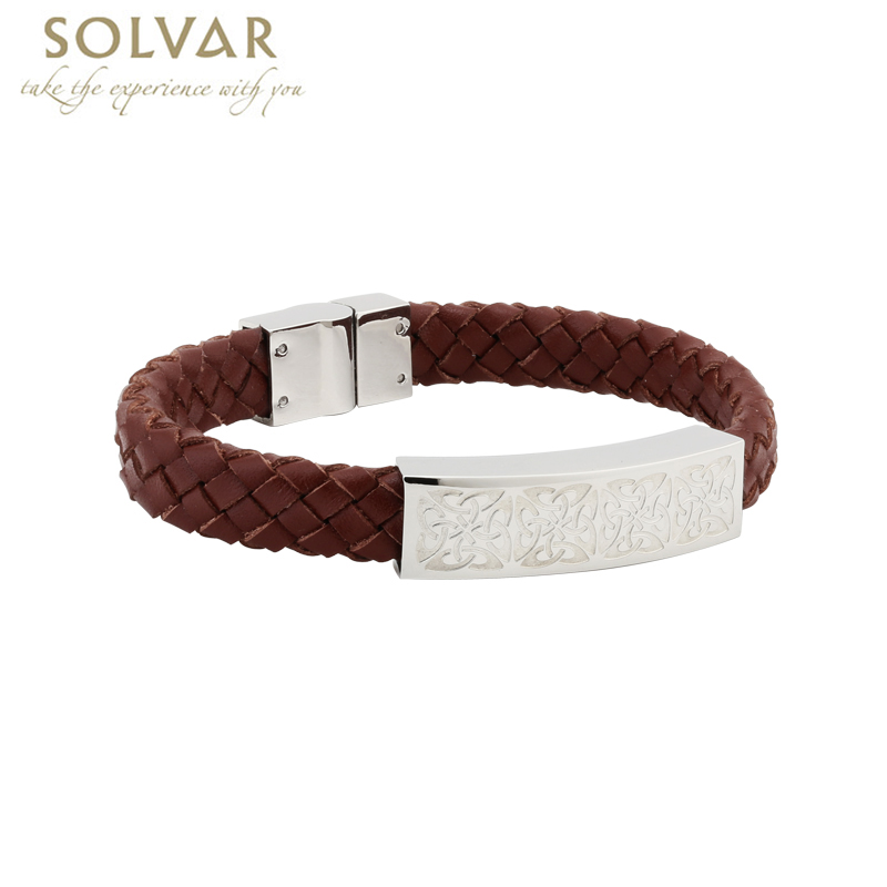 Irish Bracelet - Men's Stainless Steel Brown Leather Bracelet