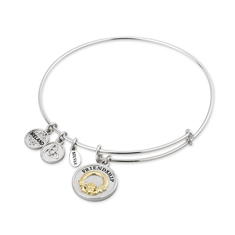Claddagh Bangle - Sterling Silver and Gold Plated Claddagh Expanding Bangle