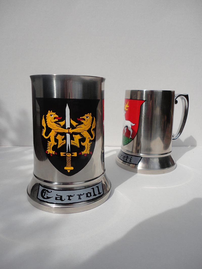 Personalized Irish Coat of Arms Stainless Steel Steins