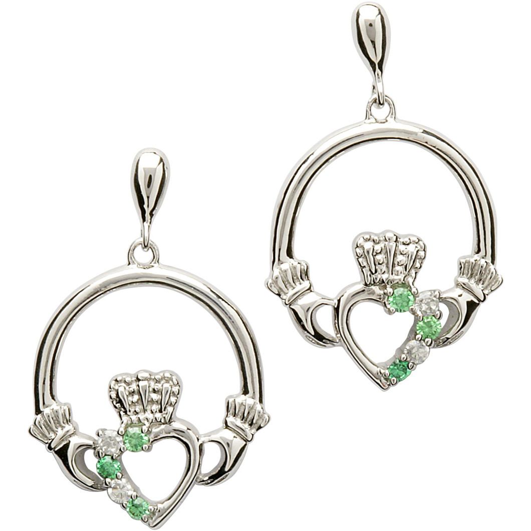 Claddagh Earrings - Sterling Silver Claddagh Stone Set Earrings