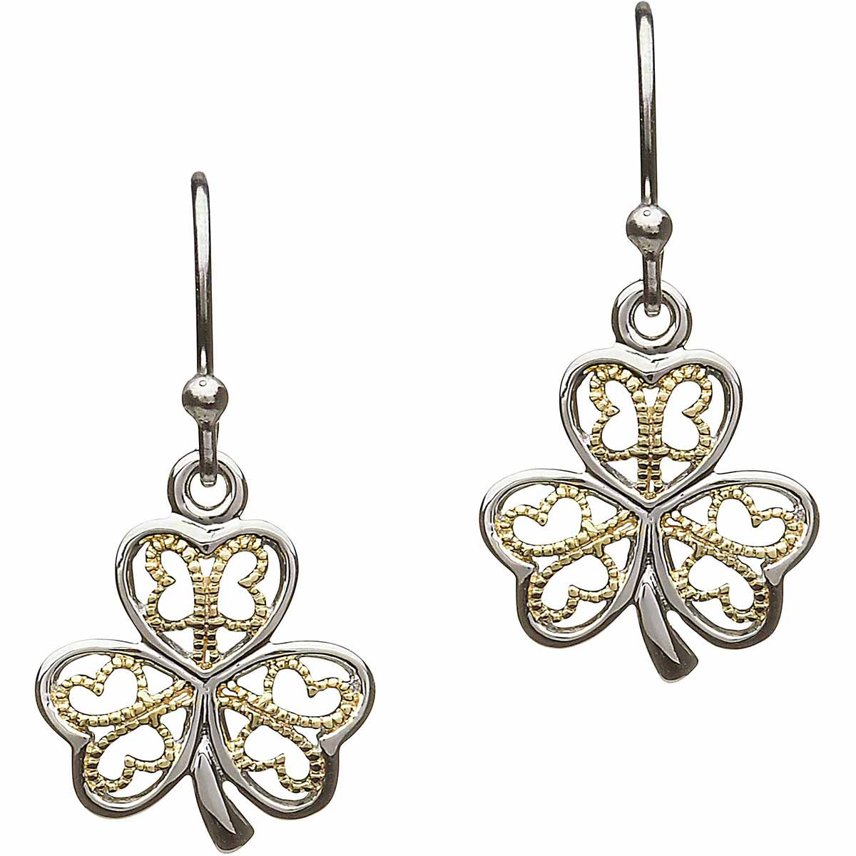 Shamrock Earrings - Sterling Silver Filigree Shamrock Earrings