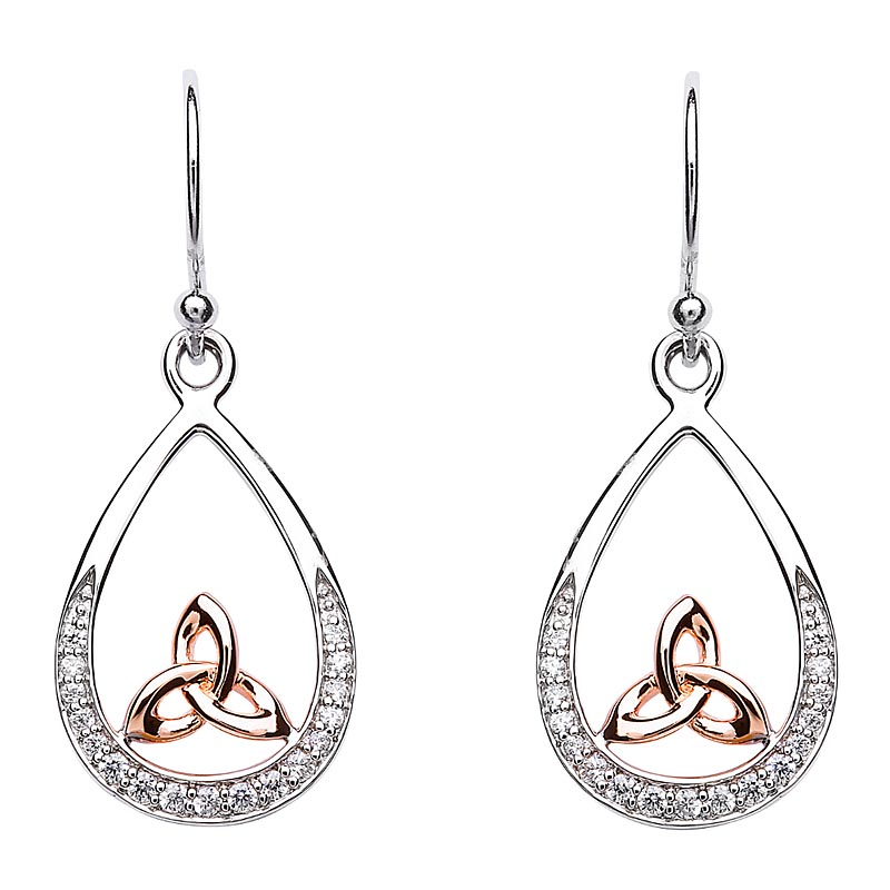 Trinity Knot Earrings - Sterling Silver Trinity Knot Stone Set Rose Gold Plated Earrings