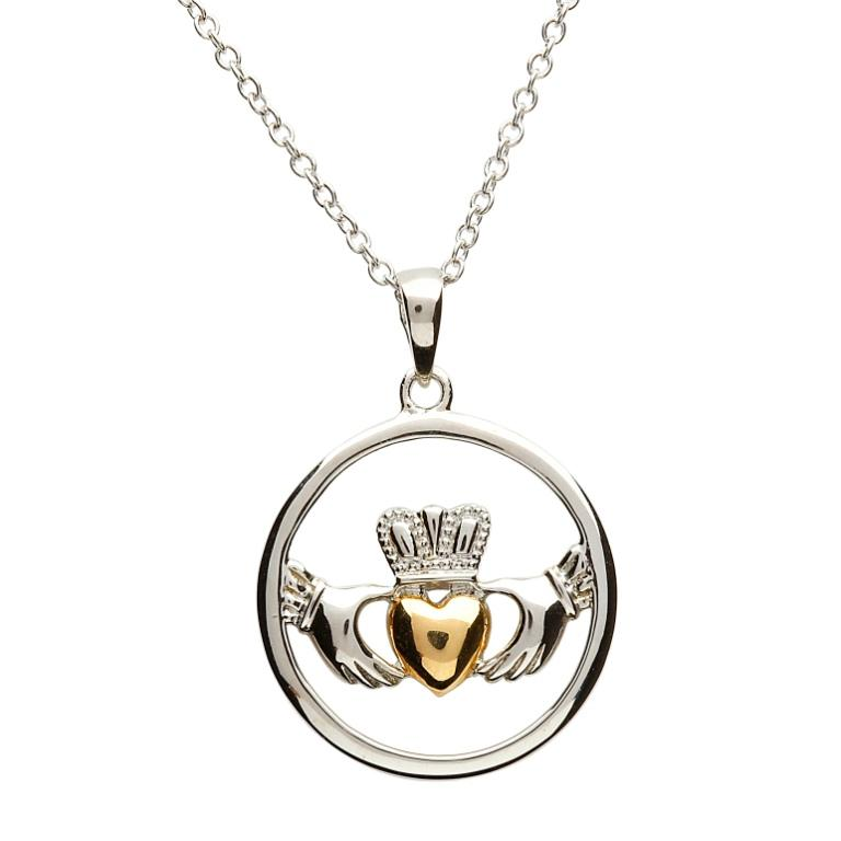 claddagh pendant sterling silver claddagh gold plate