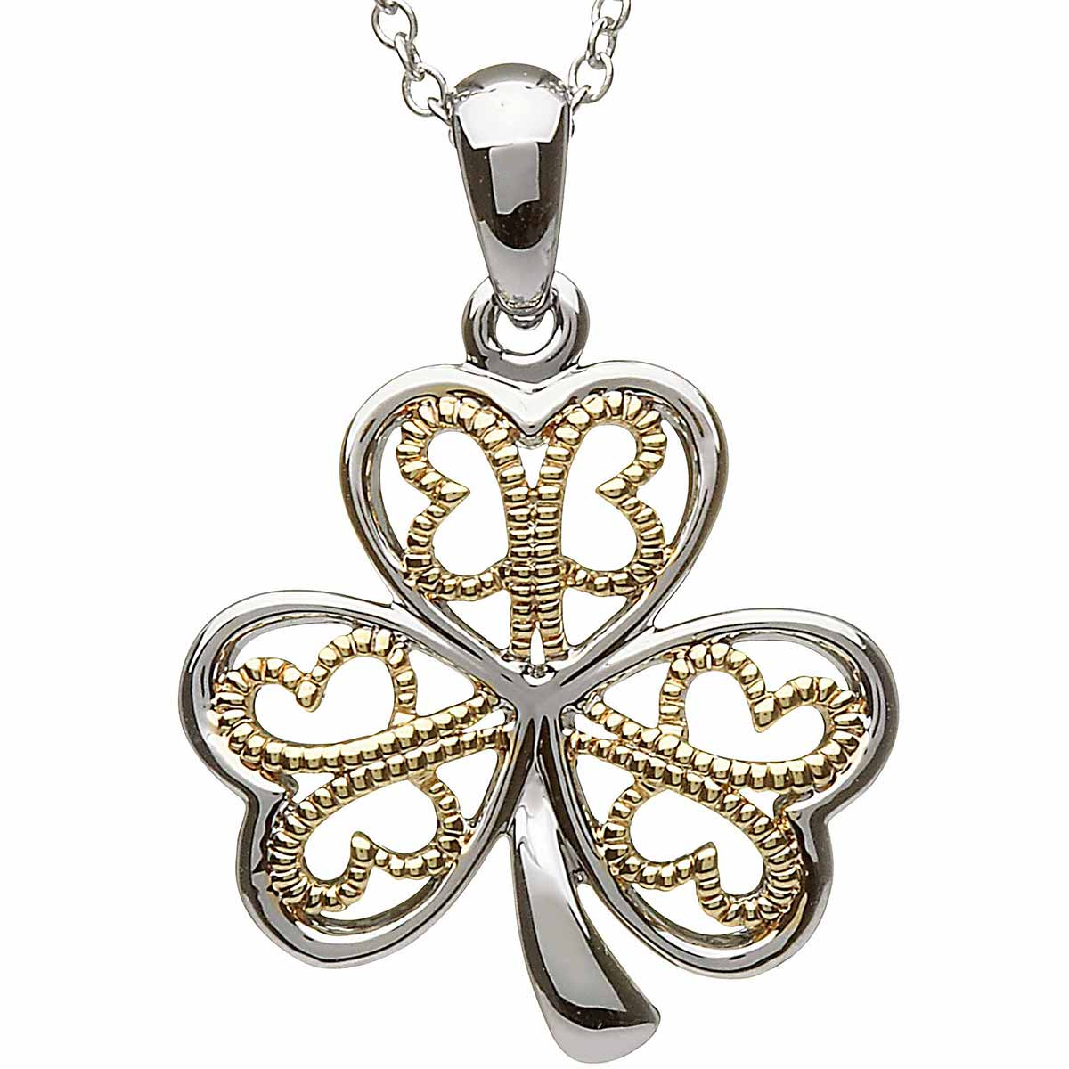 Shamrock Pendant - Sterling Silver Filigree Shamrock Pendant with Chain