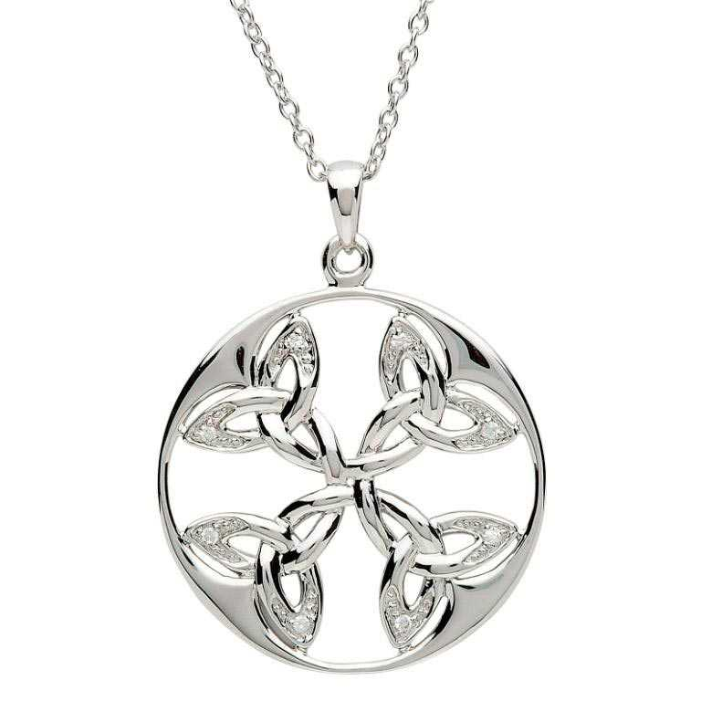 Celtic Necklace - Sterling Silver Circle of Life Trinity Knot Pendant