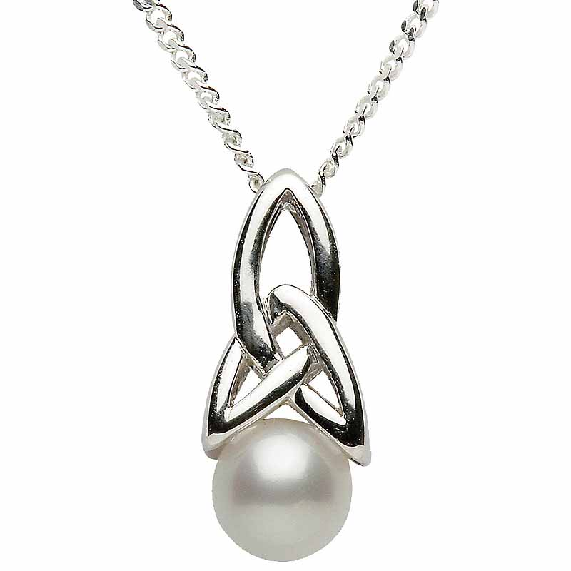 Trinity knot pendant sterling silver celtic trinity knot pearl trinity knot pendant sterling silver celtic trinity knot pearl pendant with chain aloadofball Choice Image