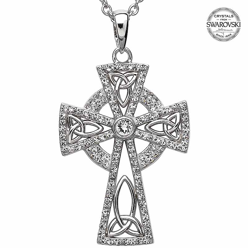 Celtic Cross Necklace - Celtic Trinity Cross Embellished with Emerald Swarovski Crystals