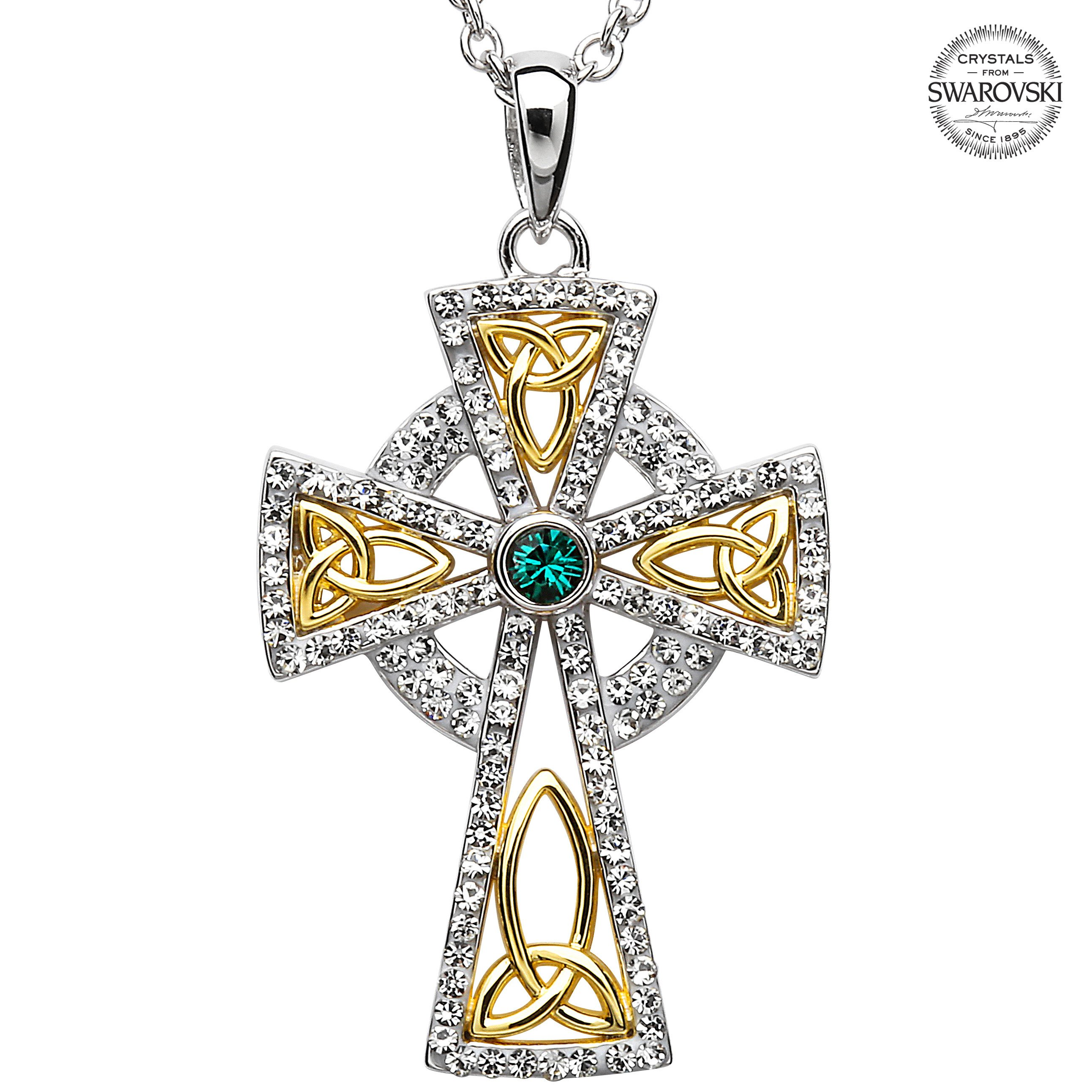 Celtic Cross Necklace Sterling Silver And Gold Plated