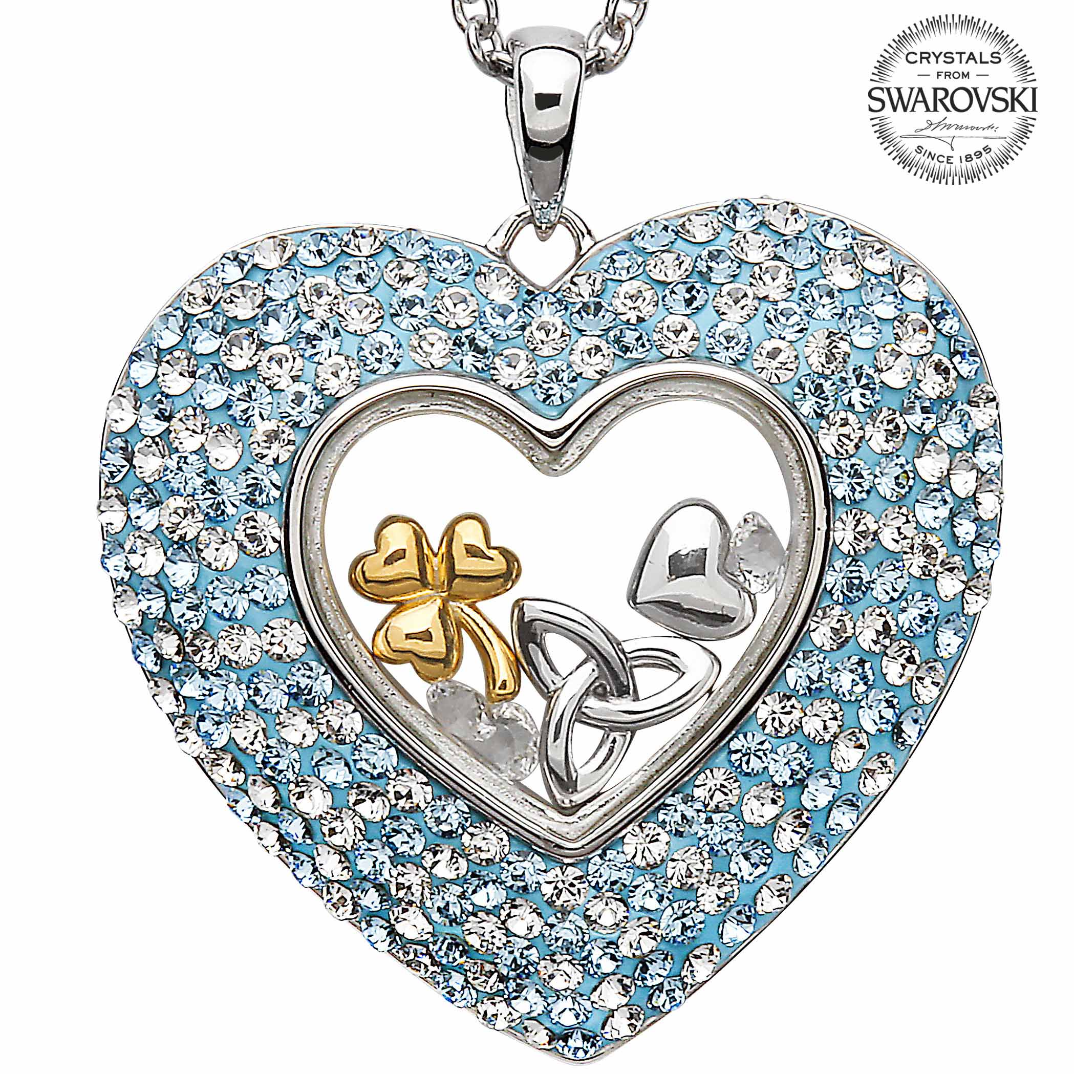 Irish Necklace - Sterling Silver Trinity Shamrock Heart Pendant Encrusted with Aquamarine Swarovski Crystals