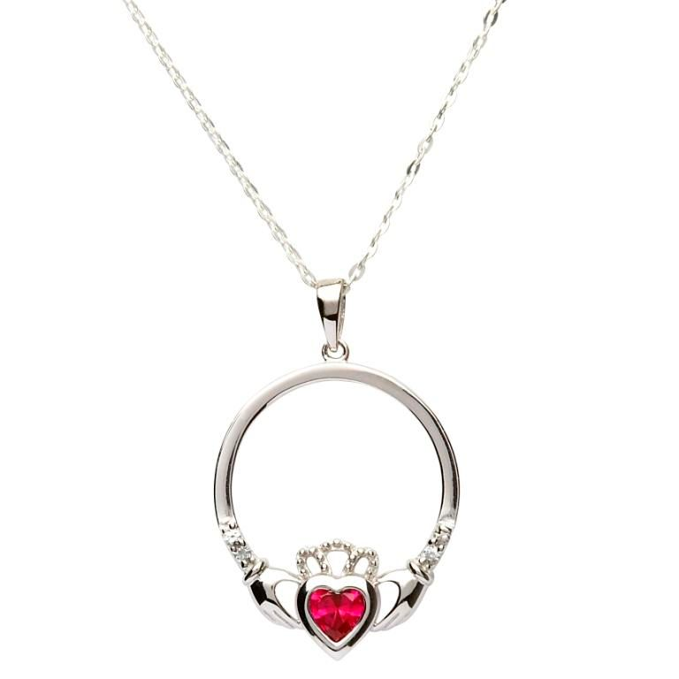 Irish Necklace - Sterling Silver Birthstone Claddagh Pendant