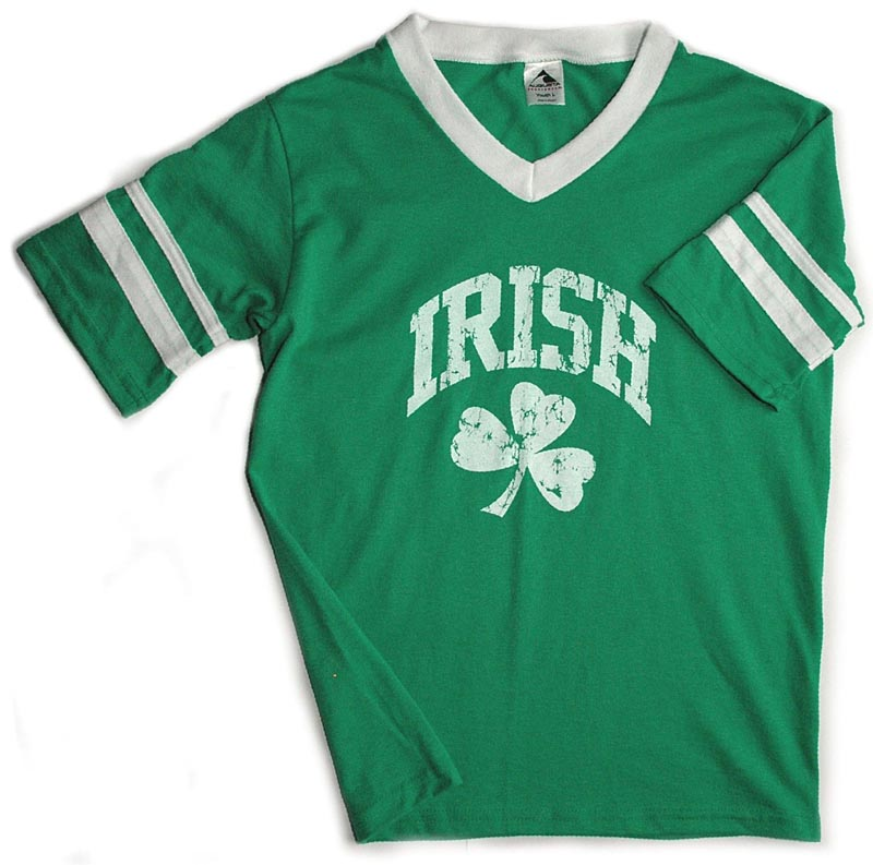 Irish t shirt distressed irish shamrock stripe jersey t for Irish jewelry stores in nj