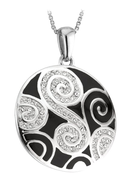 SALE - Celtic Pendant -  Rhodium Plated Enamel Celtic Swirl with Crystals Irish Necklace