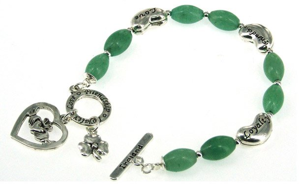 Claddagh and Shamrock Aventurine Toggle Bracelet