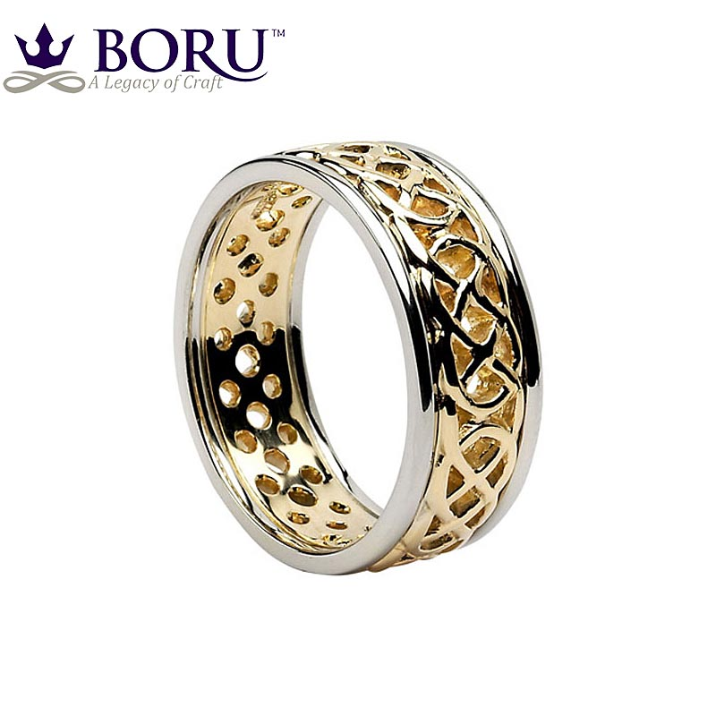 celtic ring s yellow gold with white gold trim