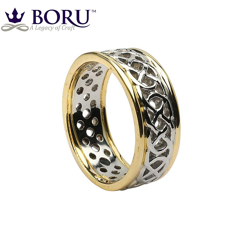 celtic ring s white gold with yellow gold trim