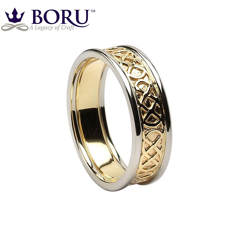 celtic ring yellow gold with white gold trim