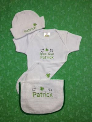 "Personalized ""Wee One"" White Romper, Hat and Bib Set"
