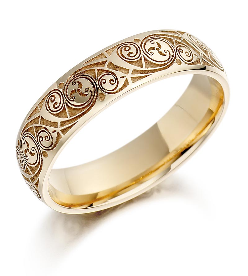 Celtic Wedding Ring - Mens Gold Celtic Spiral Triskel Irish Wedding Band At IrishShop.com ...