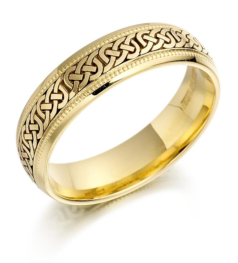 Irish wedding ring mens gold celtic knots beaded wedding for Gaelic wedding ring