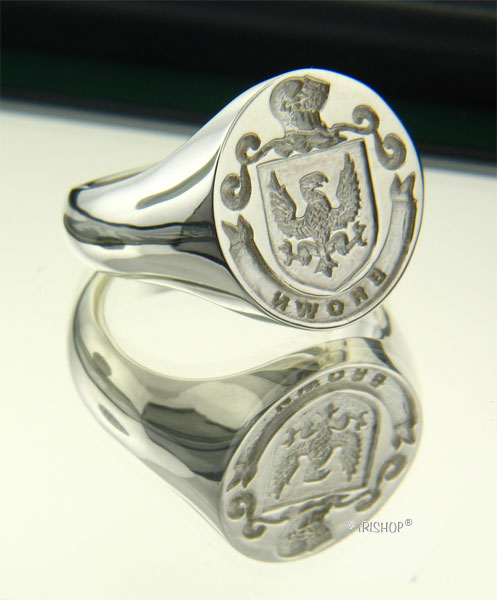 Irish Rings - Sterling Silver Personalized Full Coat of Arms Ring and Wax Seal