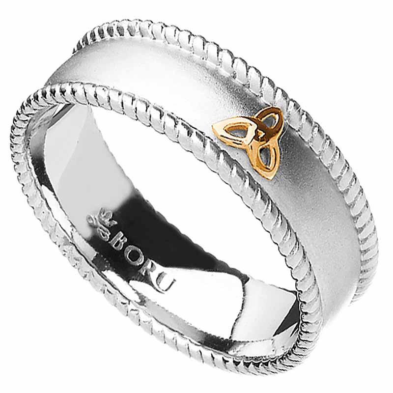 Irish Ring   10k Trinity Knot Wide Band With Rope Edges Irish Wedding Ring