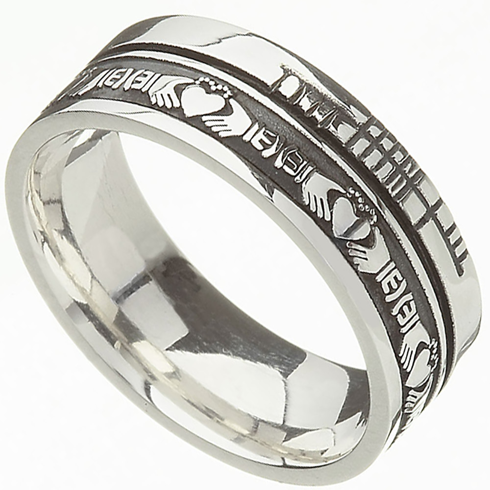 Irish Rings Comfort Fit Faith Claddagh Wedding Band
