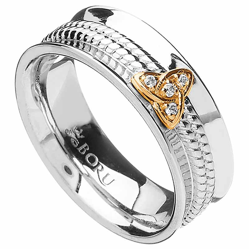 Irish Ring - 10k Trinity Knot CZ Wide Curved Band with Rope Center Irish Wedding Ring