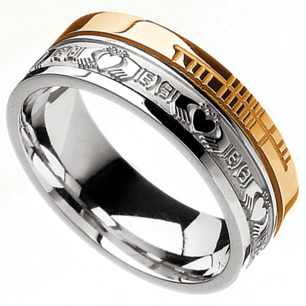Irish Rings 10k Yellow Gold and Sterling Silver Comfort Fit Faith