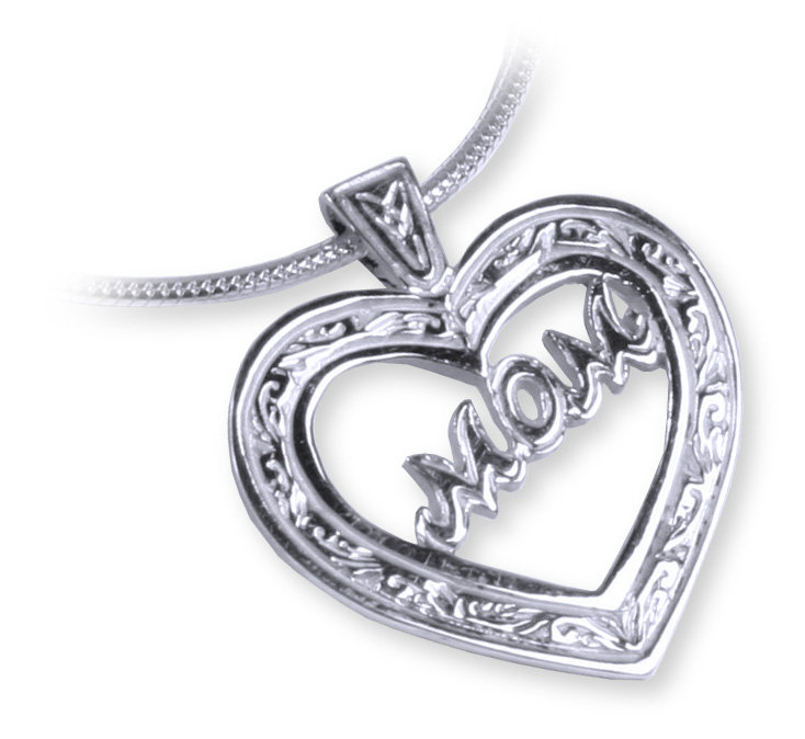Sterling Silver Celtic Heart 'Mom' Pendant